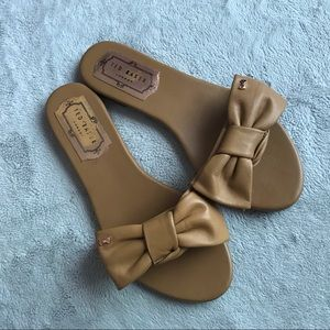 Ted Baker Bow Slide Sandals Tan Leather Sz 37